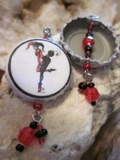 Harley Quinn Bomb Bottlecap Earrings by Soareyou on Etsy, $15.00