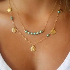 This striking turquoise necklace is sure to turn heads. Modern and minimalist, it is perfect for your summer fashion (and bathing suits!).