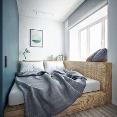 dank Podestbett entsteht eine Sitzecke am Fenster Thanks to the platform bed, a seating area is crea Apartment Interior, One Bedroom Apartment, One Bedroom, Bedroom Interior, Home, Bedroom Furniture, Apartment Design, Small Bedroom, Home Bedroom