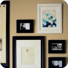 Hexagonal paint chip wall art DIY #art #project