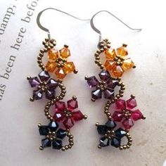 Sterling Silver Multi-colored Crystal Flower Earrings (USA) - Overstock™ Shopping - The Best Prices on Earrings Seed Bead Jewelry, Bead Jewellery, Seed Bead Earrings, Flower Earrings, Beaded Earrings, Seed Beads, Crystal Earrings, Chandelier Earrings, Earings Dangle