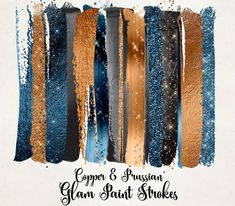 Copper and Prussian Glam Paint Strokes Clipart, watercolor blue and gold glitter, brush stroke clip art, shimmering sparkle png overlays