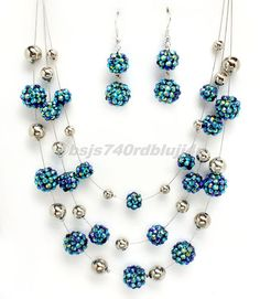 """SILVER NECKLACE RESIN BLUE BEADED EARRING NECKLACE SET 18"""" #FASHIONJEWELRY #Chain"""
