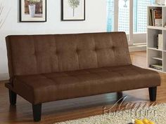 Emmet chocolate microfiber fabric upholstered adjustable sofa futon bed with tufted back and dark finish legs -- You can find more details by visiting the image link.