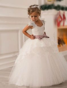 Lace Tulle Flower Girl Dress Wedding Easter Junior Bridesmaid Baptism Baby N22