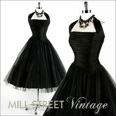 Vintage 1950s Dress  Black Tulle Bombshell  by millstreetvintage, $325.00
