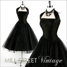 Vintage 1950s Dress . Black Tulle Bombshell . Shirred Jersey . Halter . Tulle . 1090...love it!!!