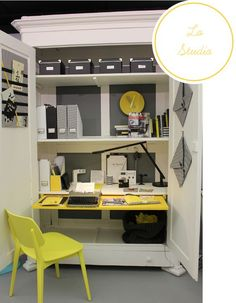 Home Shabby Home: A neat organized armoire based office space