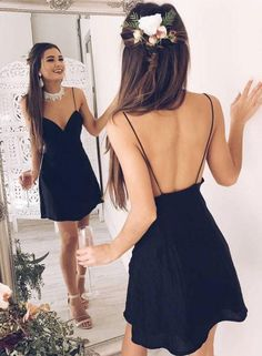 Simple black backless short prom dress, homecoming dress – trendty