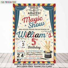 Magic Party Invitation Magic Birthday by PixelPerfectionParty