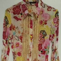 Blouse One of a kind! Statement blouse!   Snaps in front with Dangle lace& silk off front and sleeves. Really a nice blouse.  Smoke&Animal free home! Bought from Tjmaxx Le Caviar Tops Blouses