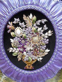 Vintage Rhinestone Jewelry Christmas Tree Framed Art Flower Arrangment 17  x 14