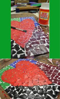 Jim Dine inspired paper mosaic I did with my 5/6 year old split class for Valentine's Day.