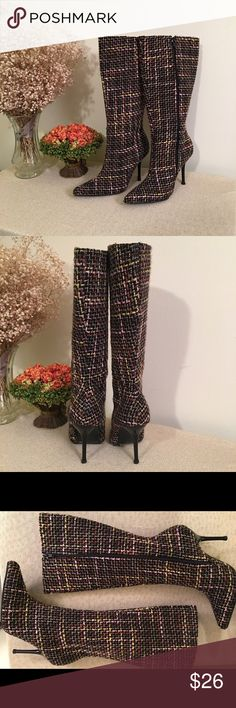 Wild rose stiletto tweed multicolored boots size 8 Wild rose stiletto tweed multicolored boots size 8. NWOT. Soooo cute! Side zip! Never been worn; come up to right below knee. Wild Rose Shoes Heeled Boots
