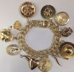 Vintage 14kt 18kt Gold Double Link Estate Bracelet with 13 Charms unique Globe