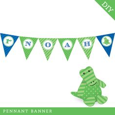 Alligator Party  Personalized DIY printable pennant by Chickabug Pennant Banners, Name Banners, Happy Birthday Name, 5th Birthday, Alligator Party, Triangle Print, Gift Table, School Parties, Tapestry