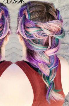 Pastel purple braided dyed hair @glamiris