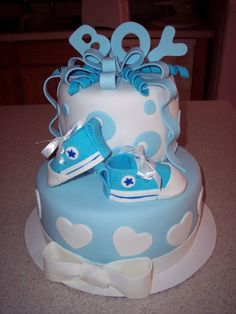 Boy Baby Shower Cake- love the Converse shoes!