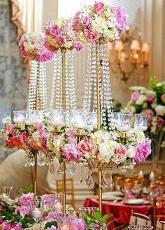 Tall crystal centerpieces.