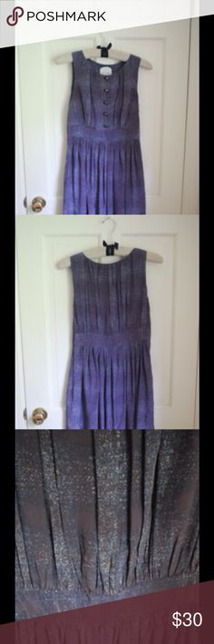Anthropologie - Ruffian Collection Dress Purple dress with beautiful, simplistic pattern. Light-weight, comfortable, has pockets! Button-up in front. Length just above knees. Perfect for multiple occasions. Anthropologie Dresses Midi