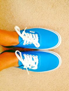 Bright blue Vans #shoes #vans