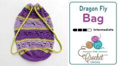 Crochet Dragon Fly Bag  Back Pack by Laura Jean Bartholomew  FREE pattern on THE CROCHET CROWD