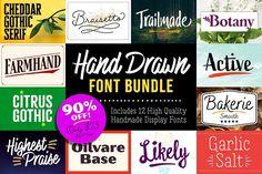 Hand Drawn Display Font Bundle by Adam Ladd on @creativemarket