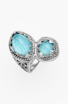 Konstantino 'Aegean' Stone Ring Sterling silver/turquoise and rock-crystal doublet.
