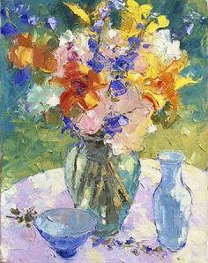 Sun-Dappled Bouquet...Michigan artist...Tom Nelson abstract bright floral painting flowers glass bottles