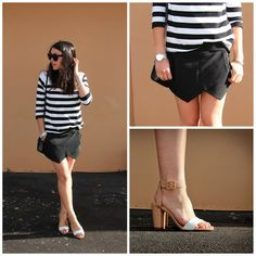 Zara Two Tone Heels, Zara Black Skort, Michael Kors Silver Watch, Zara Striped Sweater, Celine Audrey Sunglasses
