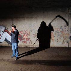 NO SMOKING AREA (01.2013) One single long exposure, no photoshop.  Model: Romain  #lightpainting #lightart #longexposure #lpwalliance #lflp #night #nophotoshop #urbex  #urbanexploration #lightjunkies #superhubs #shadows #DEATH #terrypratchett