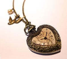 'Fluttering Swallow' Heart Clock Necklace Alice in Wonderland Fashion Jewellery | eBay