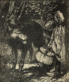 Arthur Rackham, 'Red Riding Hood' from; Fairy Tales of the Brothers Grimm, 1911. Vampires And Werewolves, Brothers Grimm, Arthur Rackham, Children's Book Illustration, Animal Illustrations, Dark Fantasy Art, Red Riding Hood, Fairy Tales, Art Drawings