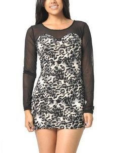 (CLICK IMAGE TWICE FOR DETAILS AND PRICING) Fierce Animal Print Mini Dress Ivory and Black Animal Print. Hit the town in this animal printed mini dress featuring sweetheart neck detail and sheer fabric for the stylish.. See More Mini Dress at http://www.ourgreatshop.com/Mini-Dress-C90.aspx