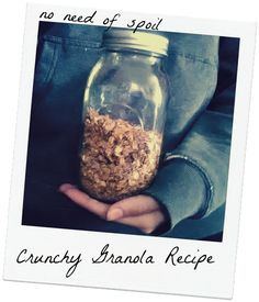 No Need Of Spoil: Better Than A Christmas Candle - Homemade Crunchy Granola Plant Based Recipes, Veggie Recipes, Dog Food Recipes, Snack Recipes, Veggie Food, Fruit And Yogurt Parfait, Healthy Snacks, Healthy Recipes, Crunchy Granola