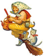 Easter Witch--A tea kettle and head scarf seem to be required -- cats optional! Halloween 1, Halloween Items, Halloween Decorations, Vintage Easter, Vintage Holiday, Vintage Halloween Images, Hedge Witch, Witch Trials, Kitchen Witch