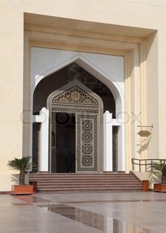 Stock image of 'Entrance to the Qatar State Grand Mosque in Doha, Middle East'