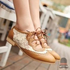 lace and leather saddle shoes