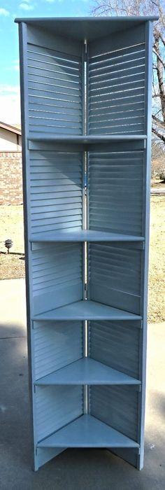 Easy way to make corner shelving from bifold shutter door.