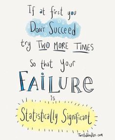 If at first you don't succeed, try two more times so that your failure is statistically significant.