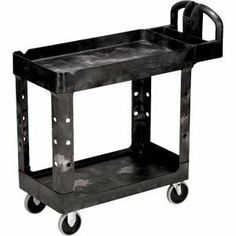 Rubbermaid Commercial Heavy-Duty Utility Cart RCP450088BK by Rubbermaid. $173.00. Handy, durable utility cart features rust-, dent-, chip- and peel-proof structural foam construction. Lightweight design and pneumatic, nonmarking casters ensure easy, ultra-quiet maneuverability. Rounded corners and shelf walls eliminate the possibility of damaging furniture and walls. Comfort-grip handle features convenient, molded-in tool compartments and a cup holder. Snap-and-lock assembly sim...
