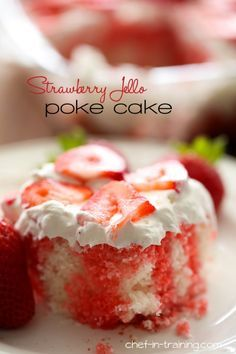 Strawberry Jello Poke Cake. I'm making this for the 4th with French vanilla cake (subbing applesauce for oil), raspberry jello, cool whip mixed with French vanilla pudding as icing, and topping with red sugar crystals, strawberries and blueberries