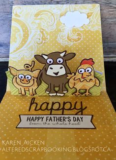 Karen Aicken using the Pop it Ups Barn Pop Stand, Brownie the Cow, Virgil the Pig and Cheepers the Chicken dies by Karen Burniston for Elizabeth Craft Designs. - Altered Scrapbooking: Farmyard Father's Day Card