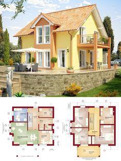 Modernes Einfamilienhaus im Landhausstil mit Galerie & Satteldach Architektur - Haus bauen Grundriss Fertighaus Evolution 136 V6 Bien Zenker Hausbau Ideen - HausbauDirekt.de