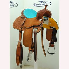 "Yes, that is TuRqUoIsE elephant on this 13.5"" Crown C Barrel Saddle by Martin Saddlery. Got a wide horse? It's 8"" wide in the gullet, too."