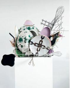 NICOLE WERMERS Abwaschskulptur (Dishwashing Sculpture) #11, 2015 Various china, ceramic, glassware, kitchen utensils, modified dishwasher basket, plinth 63 × 23 3/5 × 27 3/5 in
