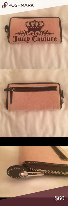 Juicy Couture wallet USED ONCE! Authentic~ Orig $98! Suede pink & brown embroidered~ inner compartments. REASONABLE OFFERS WELCOME. PERFECT CONDITION! Juicy Couture Bags