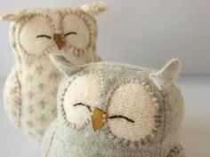 Knitted owl toys.