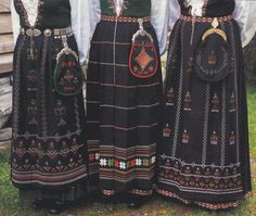 FolkCostume&Embroidery: Overview of Norwegian Costumes part the West Folk Costume, Costumes, Bridal Crown, Drawing Clothes, Norway, High Waisted Skirt, Textiles, Embroidery, Bergen