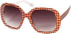 Sw Oversized Style 1626 Red White Gingham Frame Creative Eyewear Oversized Sunglasses
